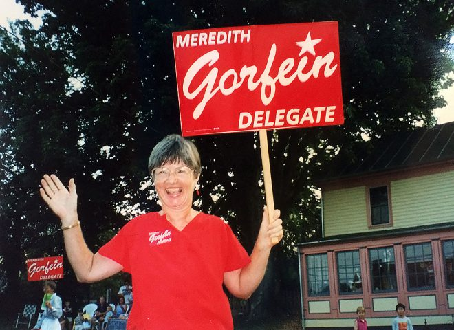 Meredith Gorfein during her campaign for the Virginia House of Delegates in 1999.