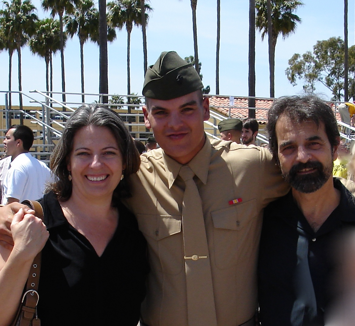 Jane Whitfield and her husband, Salvatore Abbate, with their son, Matthew Abbate after his graduation from Marine Corps recruit training. (Photo courtesy of Jane Whitfield)